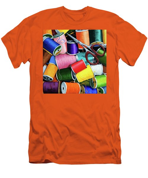 Time To Sew - Colorful Threads Men's T-Shirt (Slim Fit) by Linda Apple