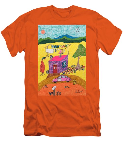 Tiny House With Clothesline Men's T-Shirt (Athletic Fit)