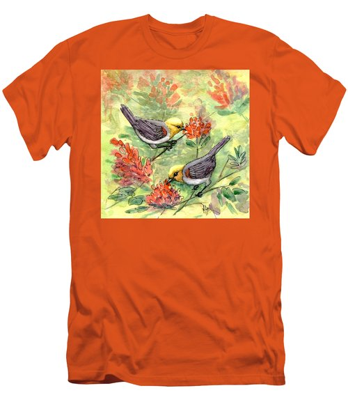 Men's T-Shirt (Slim Fit) featuring the painting Tiny Verdin In Honeysuckle by Marilyn Smith