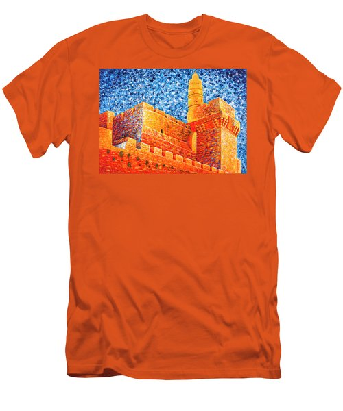 Men's T-Shirt (Athletic Fit) featuring the painting Tower Of David At Night Jerusalem Original Palette Knife Painting by Georgeta Blanaru