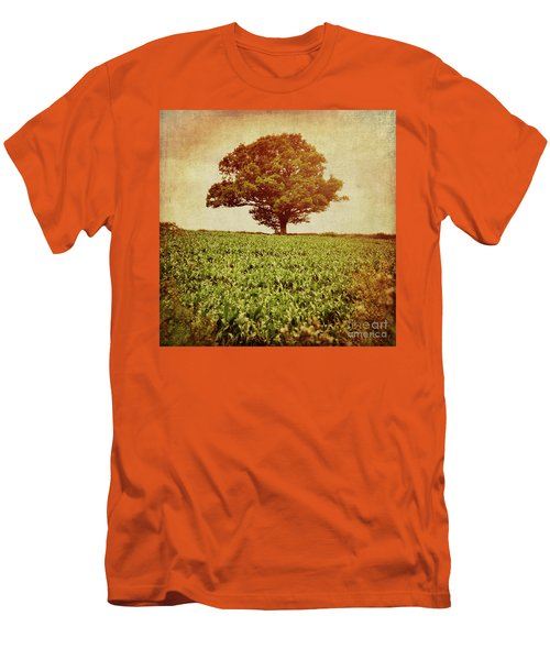 Men's T-Shirt (Slim Fit) featuring the photograph Tree On Edge Of Field by Lyn Randle