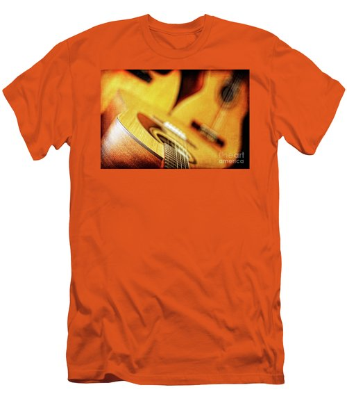 Trio Of Acoustic Guitars Men's T-Shirt (Slim Fit) by Lincoln Rogers