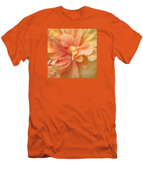 Men's T-Shirt (Slim Fit) featuring the photograph Tropical Peach Hibiscus Flower by Deborah Smith