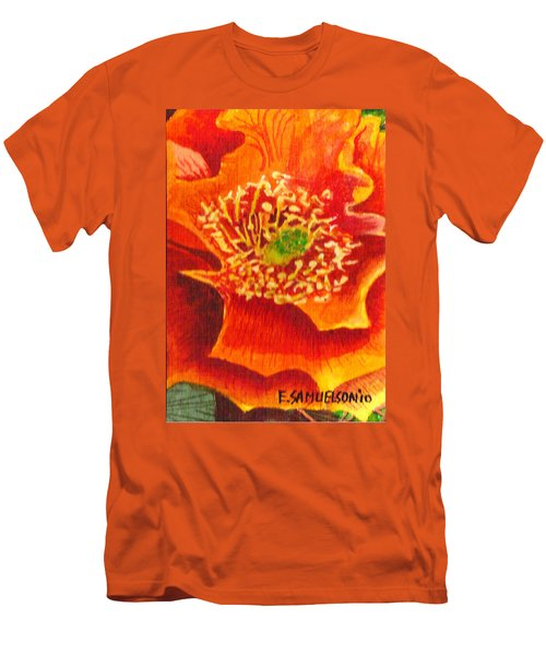 Men's T-Shirt (Slim Fit) featuring the painting Tulip Prickly Pear by Eric Samuelson