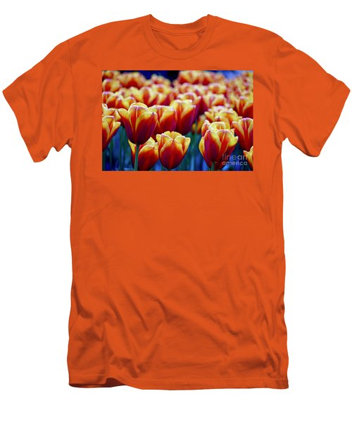 Tulips At Sunset Men's T-Shirt (Slim Fit) by Michael Cinnamond