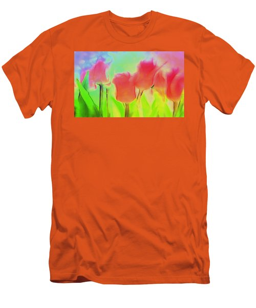 Tulips In Abstract 2 Men's T-Shirt (Slim Fit) by Cathy Anderson