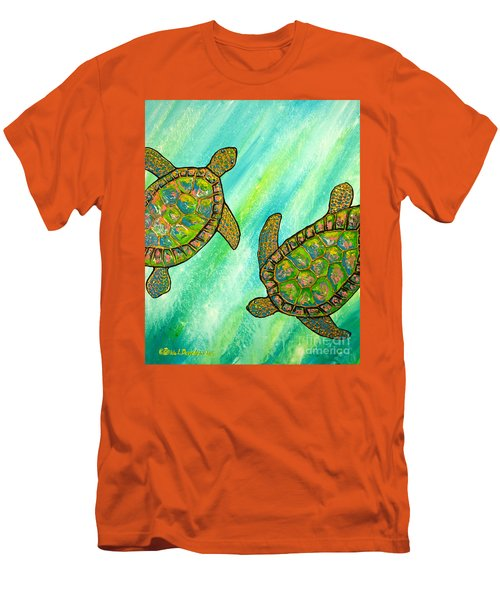Men's T-Shirt (Slim Fit) featuring the painting Turtle Sea Dance by Patricia L Davidson