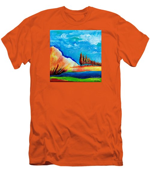 Tuscan Cypress Men's T-Shirt (Slim Fit) by Elizabeth Fontaine-Barr