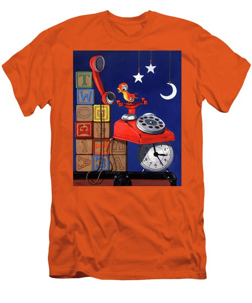 Men's T-Shirt (Slim Fit) featuring the painting Tweets -narrative Painting by Linda Apple