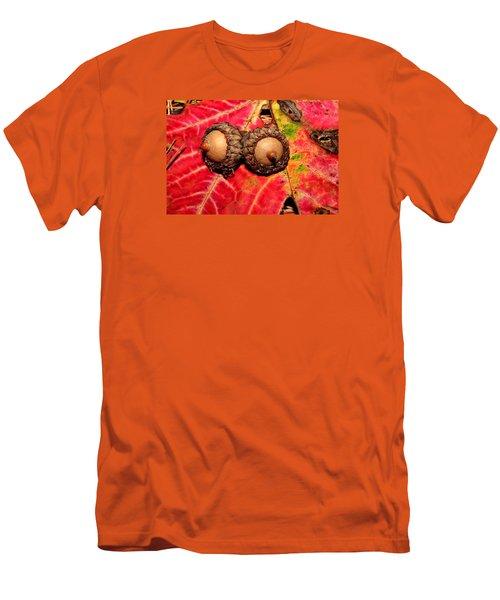 Two Acorns On Tatterd Maple Leaf 2 Men's T-Shirt (Athletic Fit)