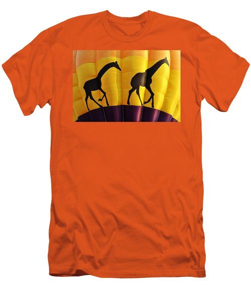 Two Giraffes Riding On A Hot Air Balloon Men's T-Shirt (Athletic Fit)
