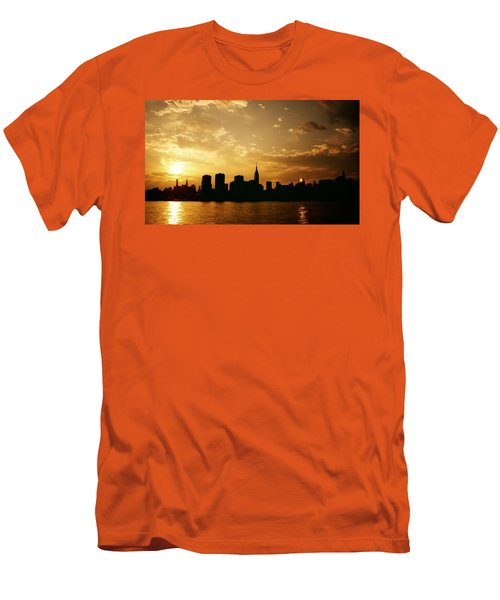 Two Suns - The New York City Skyline In Silhouette At Sunset Men's T-Shirt (Athletic Fit)
