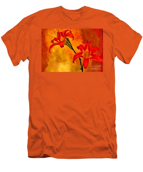 Men's T-Shirt (Slim Fit) featuring the digital art Two Tigerlilies by Marsha Heiken
