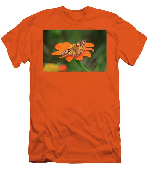 Variegated Fritillary On Flower Men's T-Shirt (Slim Fit) by Ronda Ryan