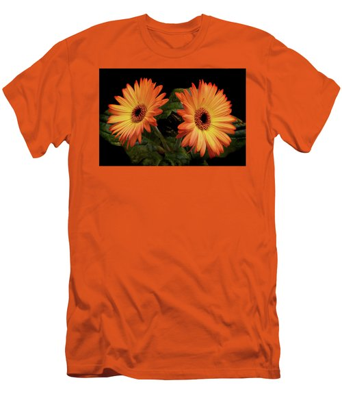 Men's T-Shirt (Slim Fit) featuring the photograph Vibrant Gerbera Daisies by Terence Davis