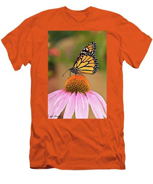 Monarch Butterfly On A Purple Coneflower Men's T-Shirt (Slim Fit) by Jeff Goulden