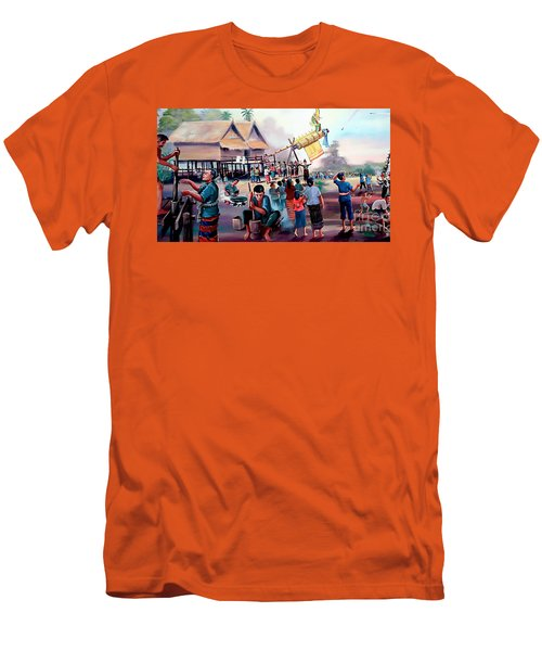 Village Rocket Festival-vintage Painting Men's T-Shirt (Athletic Fit)