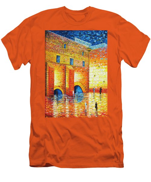 Men's T-Shirt (Athletic Fit) featuring the painting Wailing Wall Original Palette Knife Painting by Georgeta Blanaru