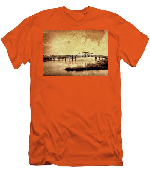 Walkway Over The Sound, Topsail Beach, North Carolina Men's T-Shirt (Slim Fit) by John Pagliuca