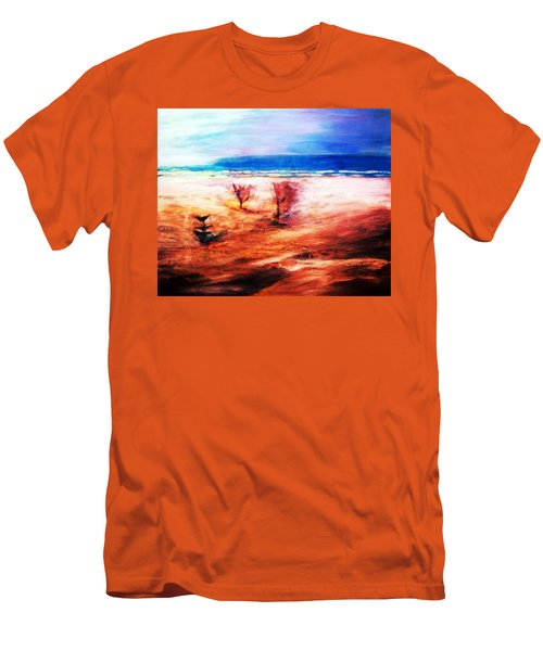 Men's T-Shirt (Slim Fit) featuring the painting Water And Earth by Winsome Gunning
