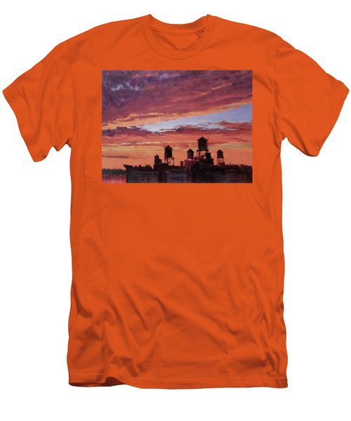 Water Towers At Sunset No. 4 Men's T-Shirt (Athletic Fit)