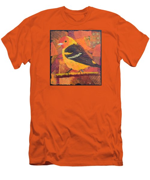 Men's T-Shirt (Slim Fit) featuring the painting Western Tanager by Nancy Jolley