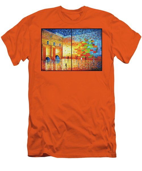 Men's T-Shirt (Athletic Fit) featuring the painting Western Wall Jerusalem Wailing Wall Acrylic Painting by Georgeta Blanaru
