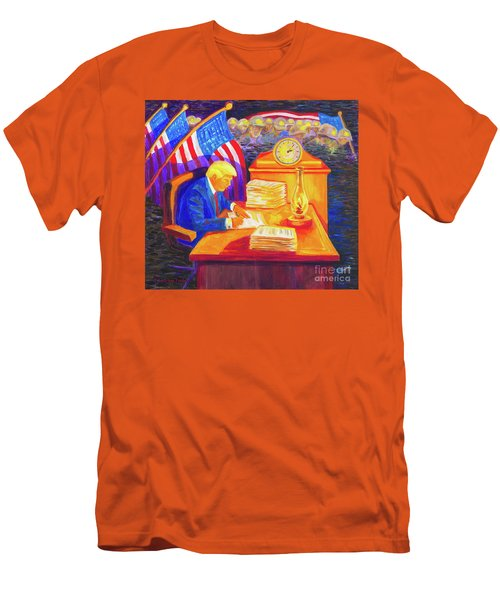 Men's T-Shirt (Slim Fit) featuring the painting While America Sleeps - President Donald Trump Working At His Desk By Bertram Poole by Thomas Bertram POOLE