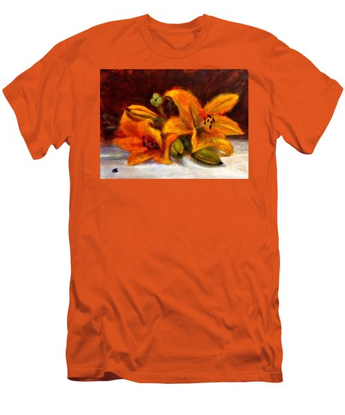 Men's T-Shirt (Slim Fit) featuring the painting Whispers Of Love..2 by Cristina Mihailescu