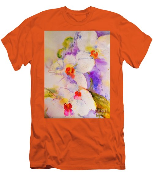 White Orchids Men's T-Shirt (Slim Fit) by Betty M M Wong