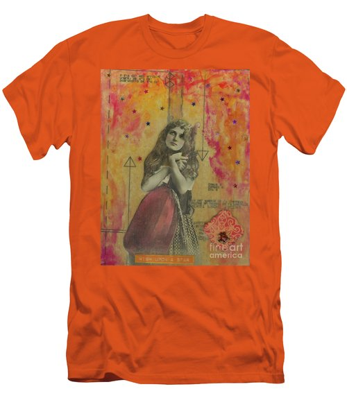 Men's T-Shirt (Slim Fit) featuring the mixed media Wish Upon A Star by Desiree Paquette
