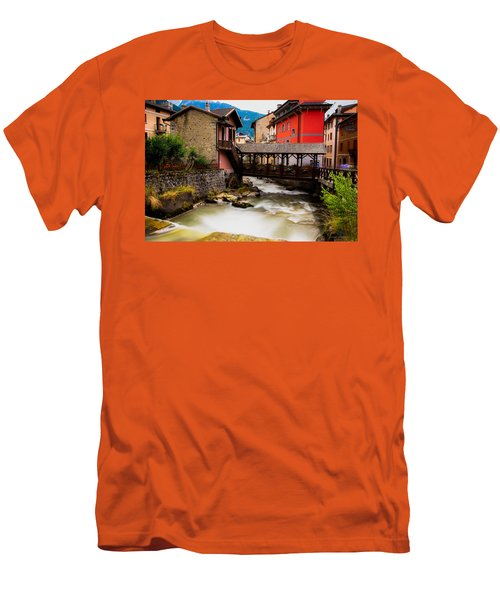 Wood Bridge On The River Men's T-Shirt (Athletic Fit)