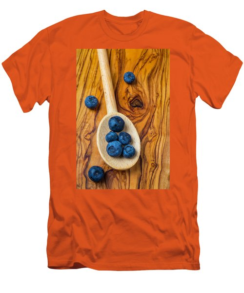 Wooden Spoon And Blueberries Men's T-Shirt (Slim Fit) by Garry Gay