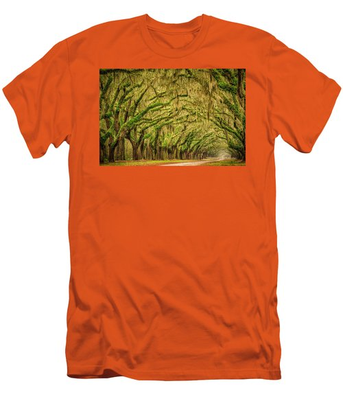 Men's T-Shirt (Slim Fit) featuring the photograph Wormsloe Drive by Phyllis Peterson