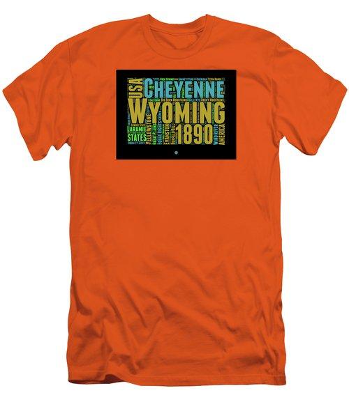 Wyoming Word Cloud Map 1 Men's T-Shirt (Slim Fit) by Naxart Studio