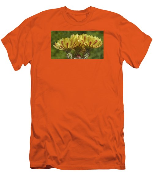 Yellow And Red Cactus Flowers Men's T-Shirt (Slim Fit) by Elvira Butler
