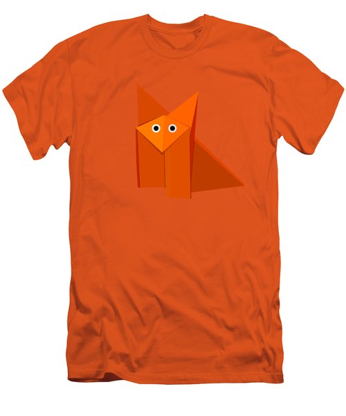 Yellow Cute Origami Fox Men's T-Shirt (Athletic Fit)