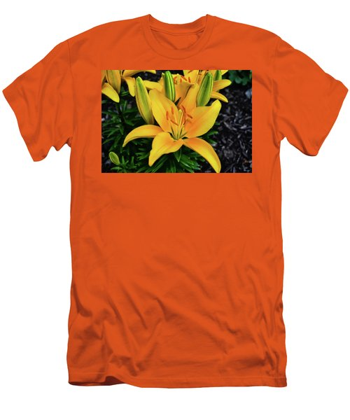 Men's T-Shirt (Slim Fit) featuring the photograph Yellow Lily 008 by George Bostian