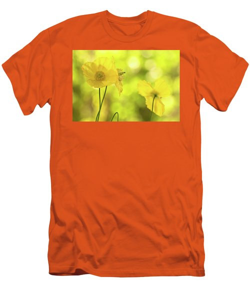 Men's T-Shirt (Slim Fit) featuring the photograph Yellow Poppies - California Poppy Flower by Peggy Collins