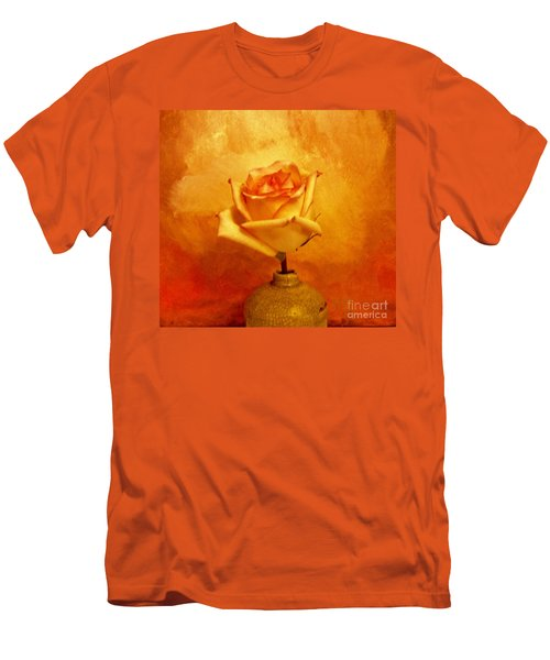 Men's T-Shirt (Slim Fit) featuring the photograph Yellow Red Orange Tipped Rose by Marsha Heiken