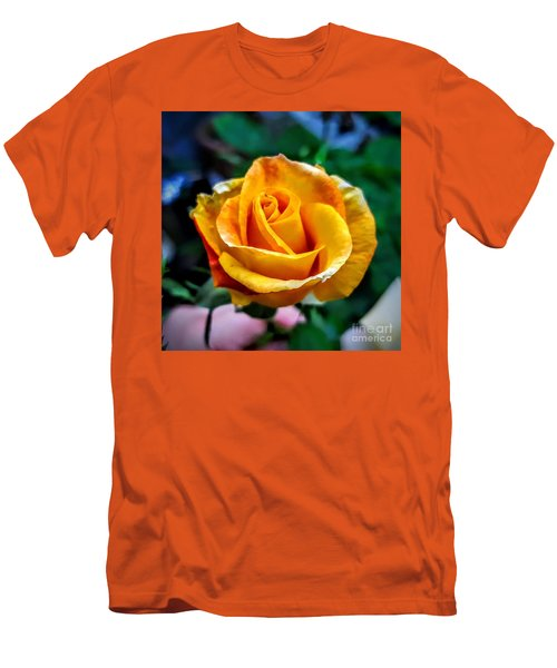 Men's T-Shirt (Slim Fit) featuring the photograph Yellow Rose by Garnett Jaeger