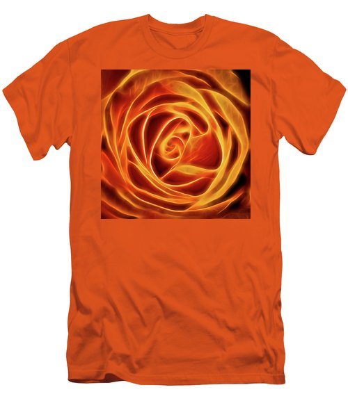 Men's T-Shirt (Slim Fit) featuring the photograph Yellow Rose Glow Square by Terry DeLuco