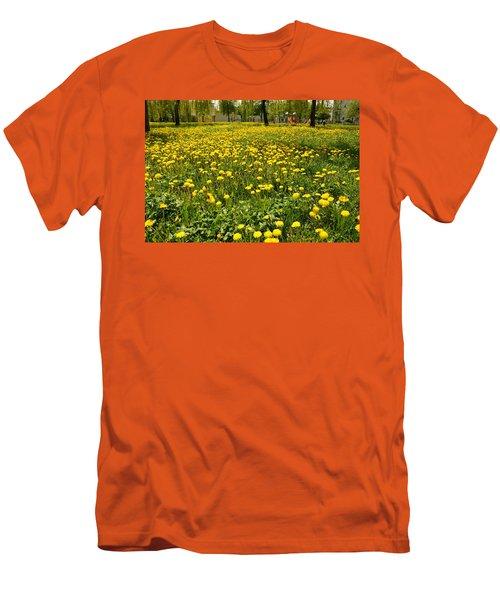 Yellow Spring Carpet Men's T-Shirt (Slim Fit) by Henryk Gorecki