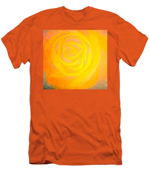 Men's T-Shirt (Slim Fit) featuring the mixed media Yelloworange Rose by Kim Henderson