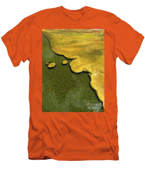 Men's T-Shirt (Athletic Fit) featuring the photograph Yellowstone Art. Yellow And Green by Ausra Huntington nee Paulauskaite