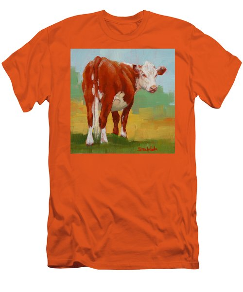 Young Cow Men's T-Shirt (Slim Fit) by Margaret Stockdale