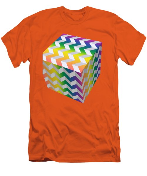 Men's T-Shirt (Slim Fit) featuring the digital art Zig Zag Cube by Chuck Staley