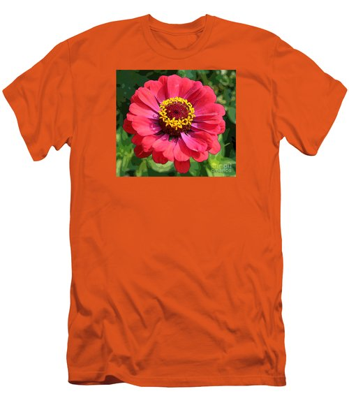 Men's T-Shirt (Slim Fit) featuring the photograph Zinnia by Jeanette French