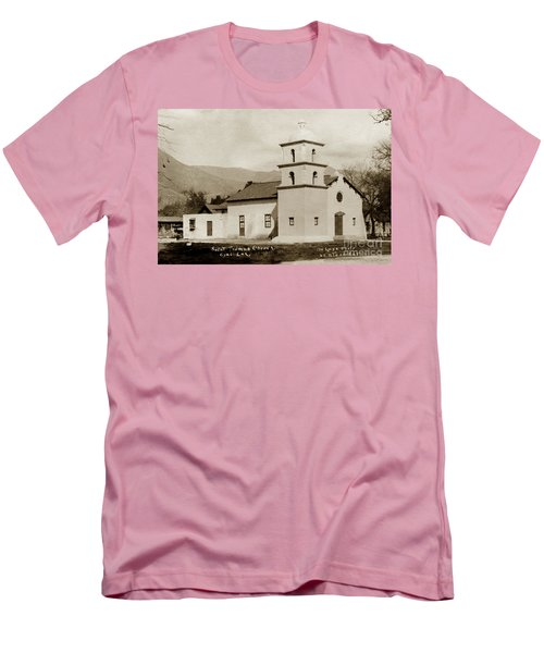 Men's T-Shirt (Slim Fit) featuring the photograph  St. Thomas Aquinas Catholic Church  Ojai Cal 1920 by California Views Mr Pat Hathaway Archives