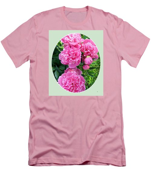 Country Peonies Men's T-Shirt (Slim Fit) by Will Borden